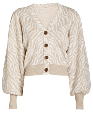 Cici Zebra Knit Wool Cardigan