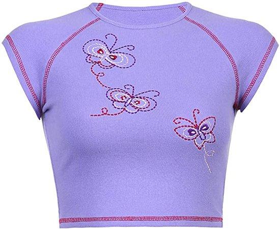 Amazon.com: Women Teen Girl Y2k 2021 Fashion Top Clothes Cute Graphic Print Brown Crop Top Tee T-Shirt E Girl Clothing Aesthetic: Clothing
