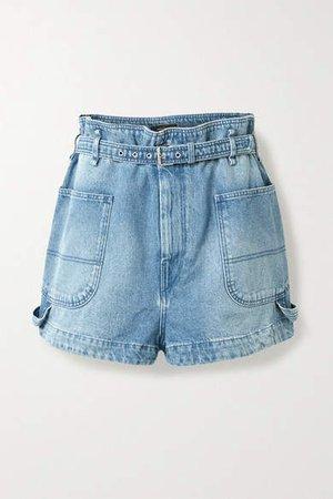 Belted Denim Shorts - Light denim