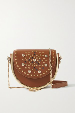 Mara Embellished Leather Shoulder Bag - Light brown
