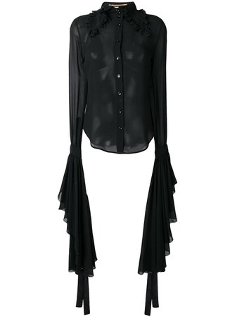 Saint Laurent Sheer Shirt With Dramatic Sleeves - Farfetch