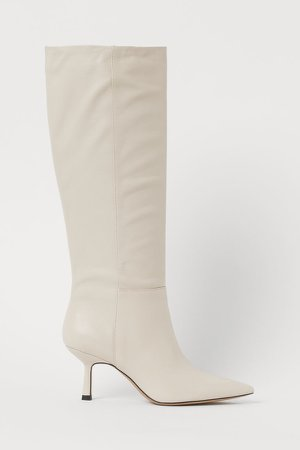 Leather Boots - Beige