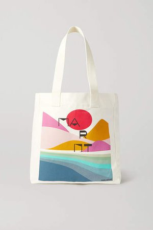 Printed Cotton-canvas Tote - Ecru