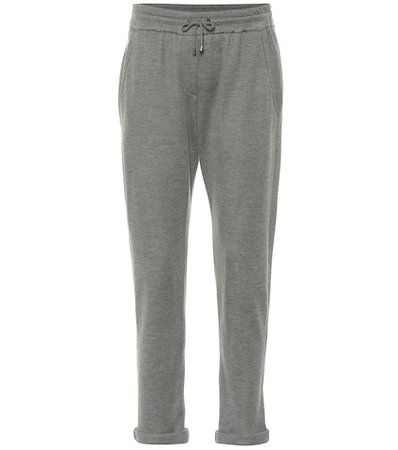 Cotton and silk-blend trackpants