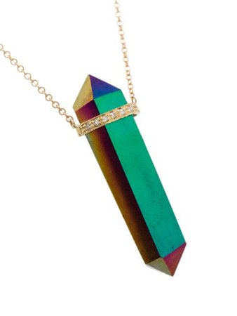 Jacquie Aiche 14kt Yellow Gold Quartz Diamond Necklace - Farfetch