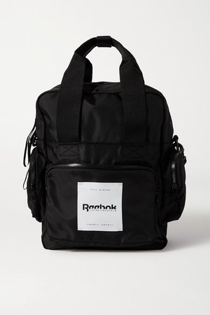 Convertible Appliqued Shell Backpack - Black