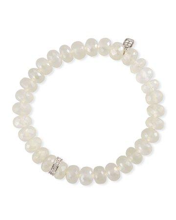 Sydney Evan 14k White Gold Diamond Wheel & Chalcedony Bracelet