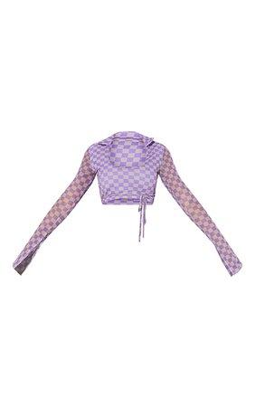 Purple Checkerboard Print Mesh Tie Crop Top   PrettyLittleThing USA