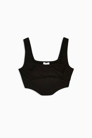 Black Poplin Corset Top | Topshop