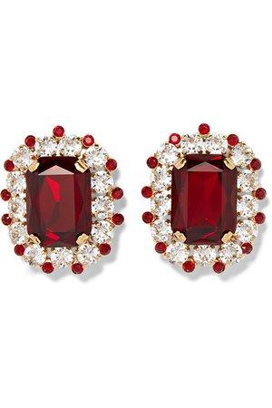 Dolce & Gabbana | Gold-tone crystal clip earrings | NET-A-PORTER.COM