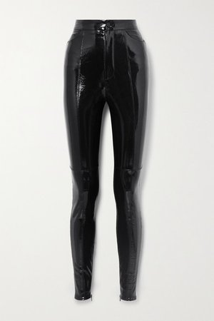 Paneled Patent-leather And Crepe Leggings - Black