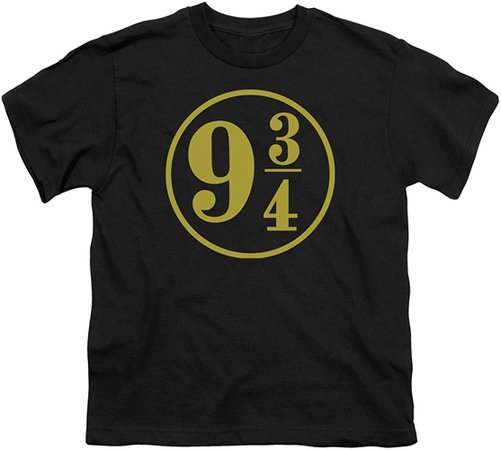 Amazon.com: A&E Designs Kids Harry Potter Platform 9 3/4 Youth T-Shirt, Black, Small: Clothing