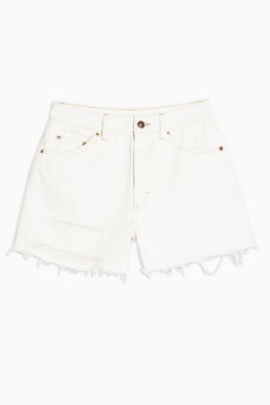 White High Waisted Ripped Denim Shorts   Topshop