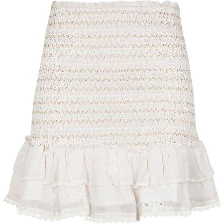 White shirred chiffon tiered mini skirt | River Island