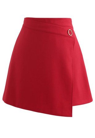 O-Ring Detail Asymmetric Hem Mini Skirt in Red - Retro, Indie and Unique Fashion