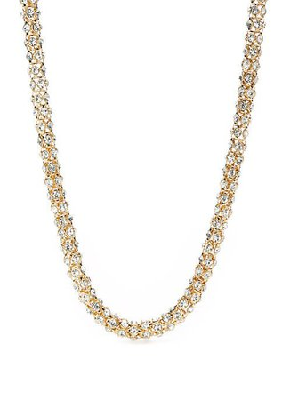 Napier Gold Tone and Crystal Collar Necklace