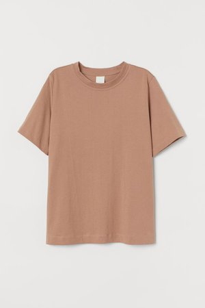 Cotton T-shirt - Dark beige - Ladies | H&M CA