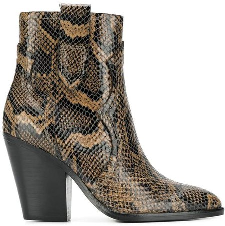 python-skin print ankle boots
