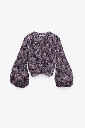PRINTED BLOUSE WITH KNOT | ZARA United States black