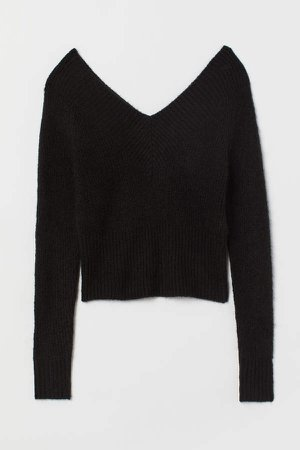 Off-the-shoulder Sweater - Black