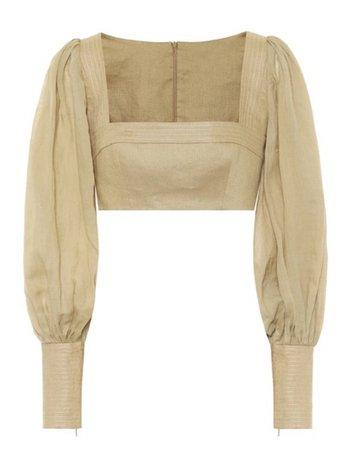 zimmermann cropped ramie&linen blouse