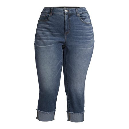 blue Terra & Sky - Terra & Sky Women's Plus Size Skinny Denim Capri Jeans With Roll Cuff - Walmart.com - Walmart.com