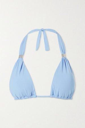 Grenada Embellished Triangle Bikini Top - Light blue