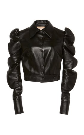 Faux Leather Cropped Jacket With Puff Sleeves by MATÉRIEL | Moda Operandi