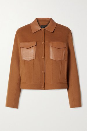 Leather-trimmed Wool And Cashmere-blend Jacket - Camel