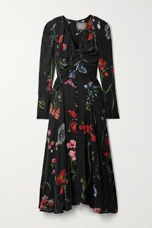 Ruched Floral-print Crepe Midi Dress - Black