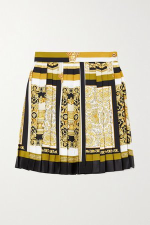 Pleated Printed Silk-twill Mini Skirt - Brown