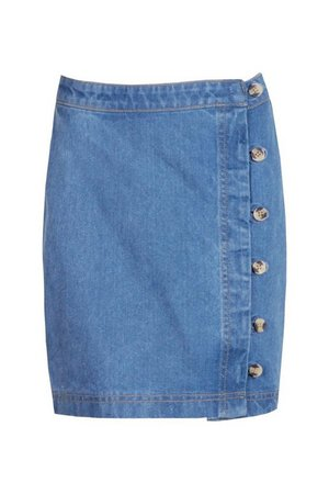 Tall Denim Button Front Mini Skirt | boohoo blue