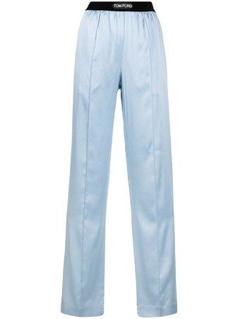 TOM FORD wide-leg stretch-silk trousers blue PAW397FAX832 - Farfetch