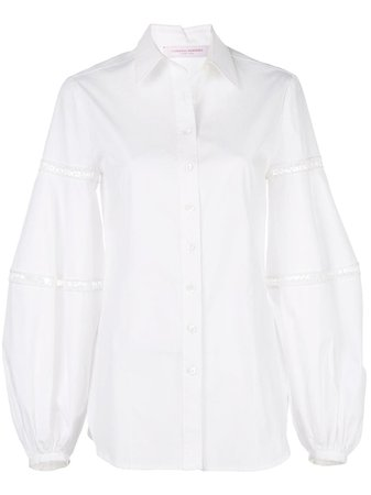 Carolina Herrera Oversized Lace-Trimmed Shirt R2011N211SCT White | Farfetch