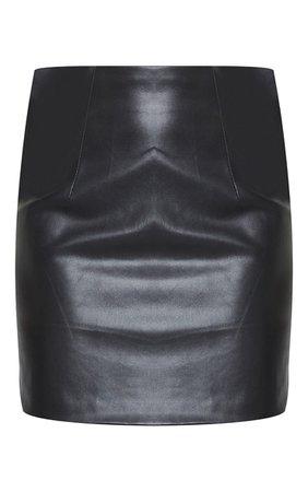 Black Faux Leather Basic Mini Skirt | PrettyLittleThing USA