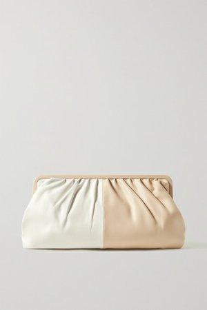 Celia Two-tone Leather Clutch - Off-white