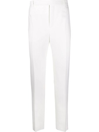 White Saint Laurent ribbed tailored trousers - Farfetch
