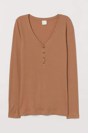 Ribbed Top - Beige