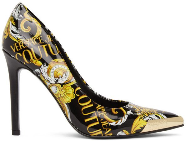 Black and Gold Baroque Heels