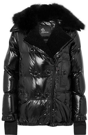 Seelisberg Shearling-trimmed Quilted Glossed-shell Down Jacket - Black