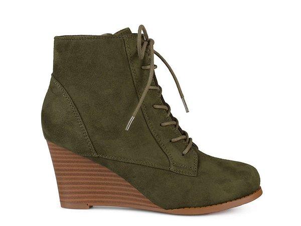 Green Wedge Booties