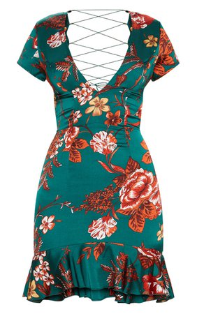 Emerald Green Criss Cross Back Shift Dress | PrettyLittleThing USA