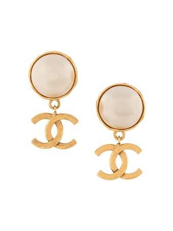 Chanel Pre-Owned 1995 Dangling CC faux-pearl Earrings - Farfetch