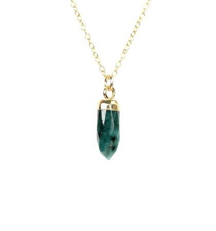 Emerald necklace spike necklace green gem necklace   Etsy