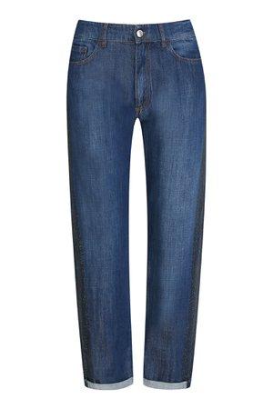 Синие джинсы прямого кроя с декором Max Mara – купить в интернет-магазине в Москве