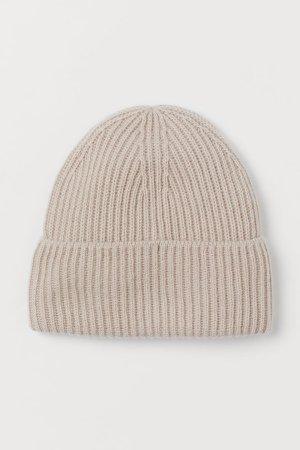Rib-knit Wool Hat - Brown