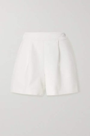 Pleated Wool-blend Crepe Shorts - Ivory