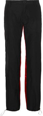 Satin-trimmed Shell Tapered Pants - Black