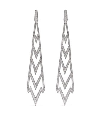 Stephen Webster 18kt white gold Lady Stardust diamond long earrings