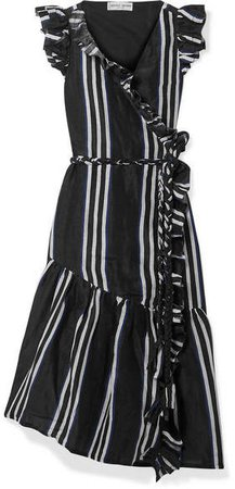 Costa Del Sol Ruffled Striped Linen And Silk-blend Wrap Dress - Black